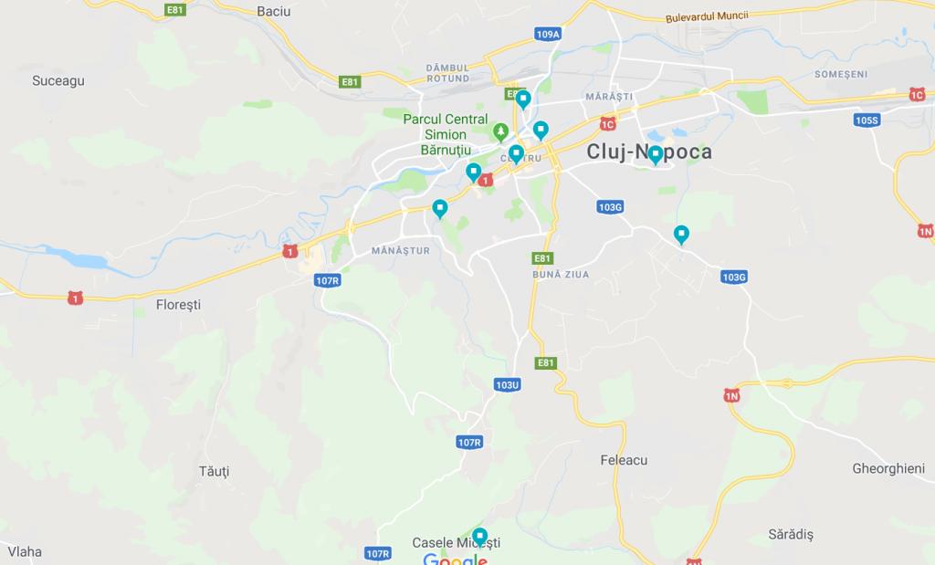 Harta Localuri din Cluj cu loc de joacă pentru copii în interior